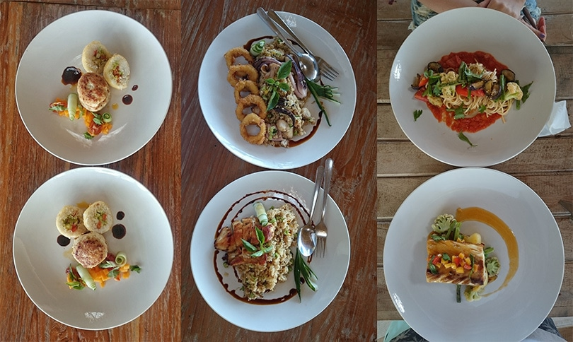 The delicious food we got at the Whales & Waves Resort