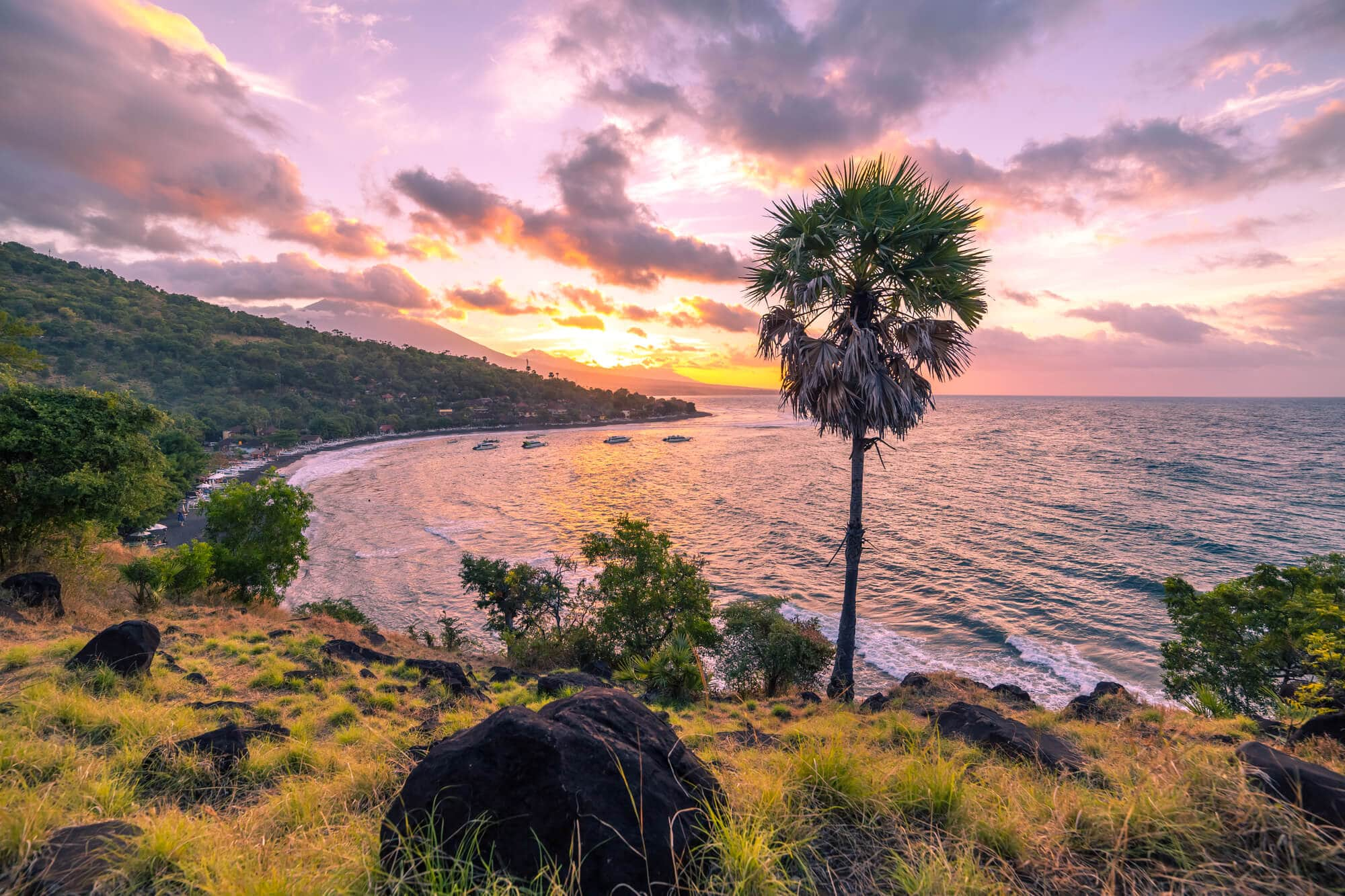 Where to stay in Bali: A complete guide to the different areas on the island - Sunset over Jemeluk Bay in Amed