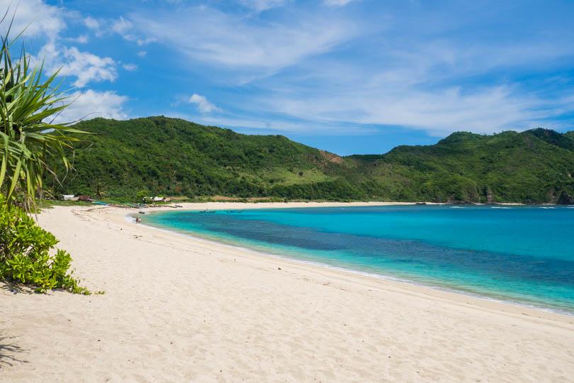 View of the beautiful Mawun Beach Lombok