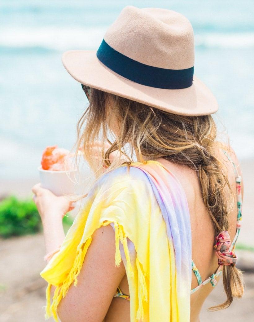 Girl having a shave ice at Batu Bolong Beach Canggu Bali