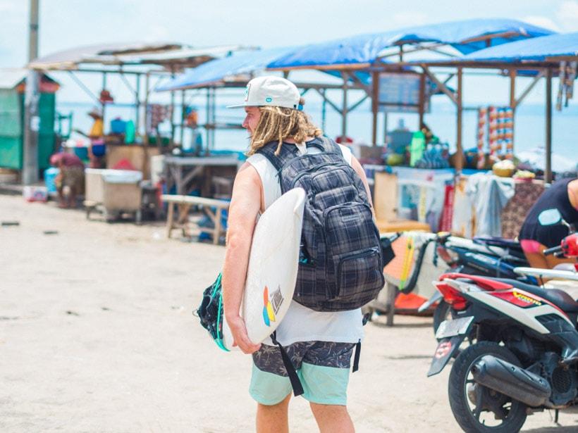 Surfer at Batu Bolong Beach Canggu