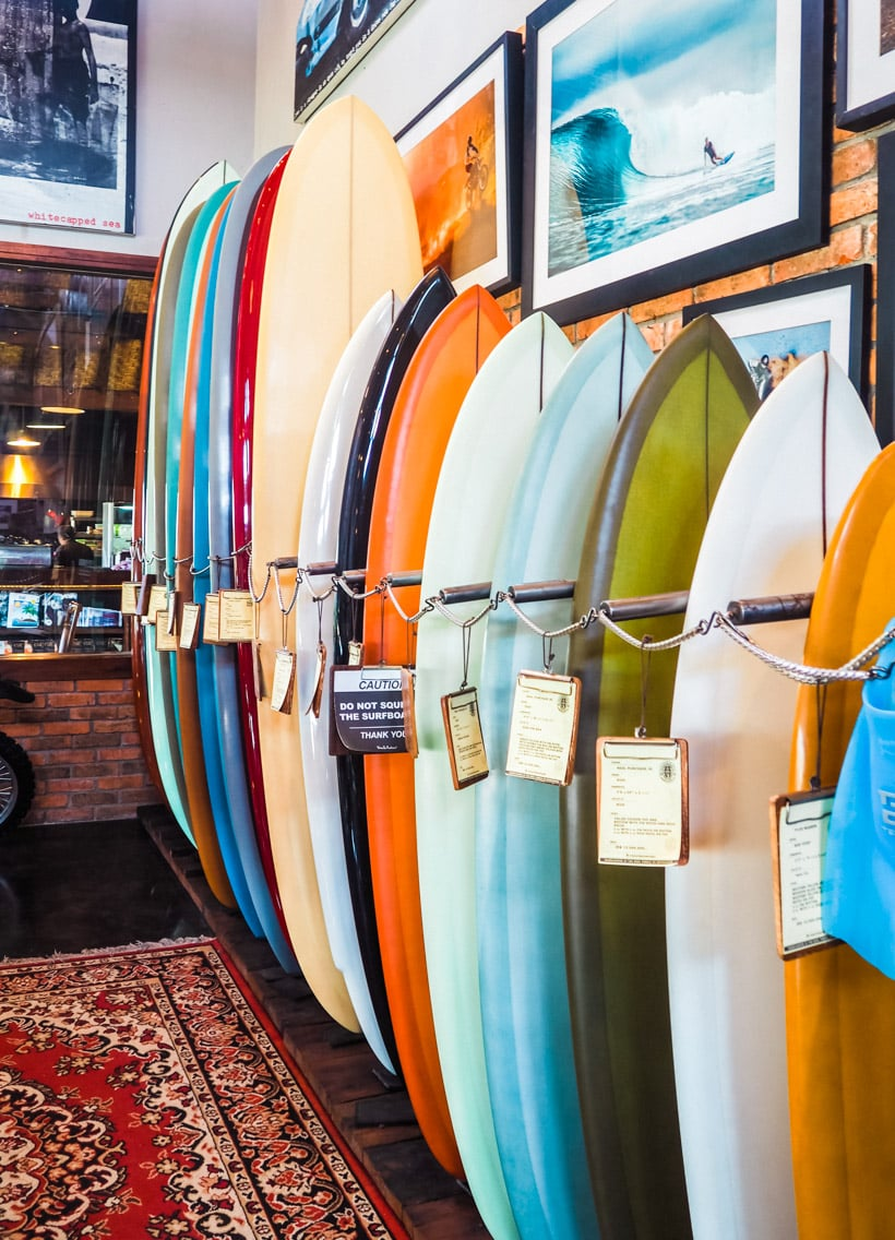 Surfboards at Deus ex Machia in Canggu Bali, the coolest place