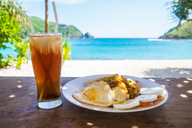 Having some Nasi Goreng for lunch at Mawun Beach Lombok