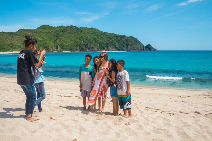 Taking pictures at Mawun Beach Lombok