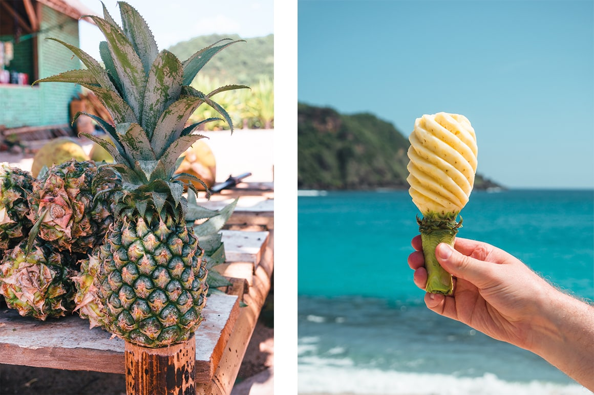 Pineapple for lunch a Mawun, one of the best beaches in Lombok