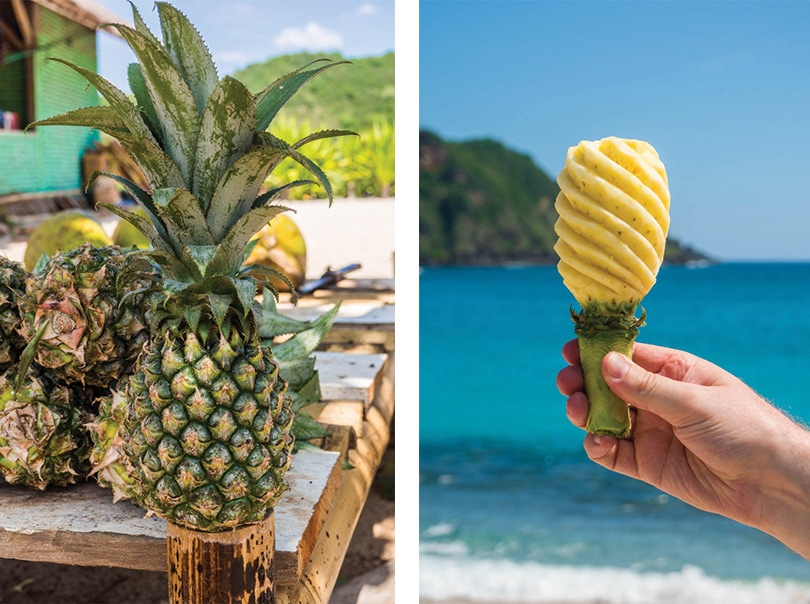 Pineapple at the beach. summer vibes