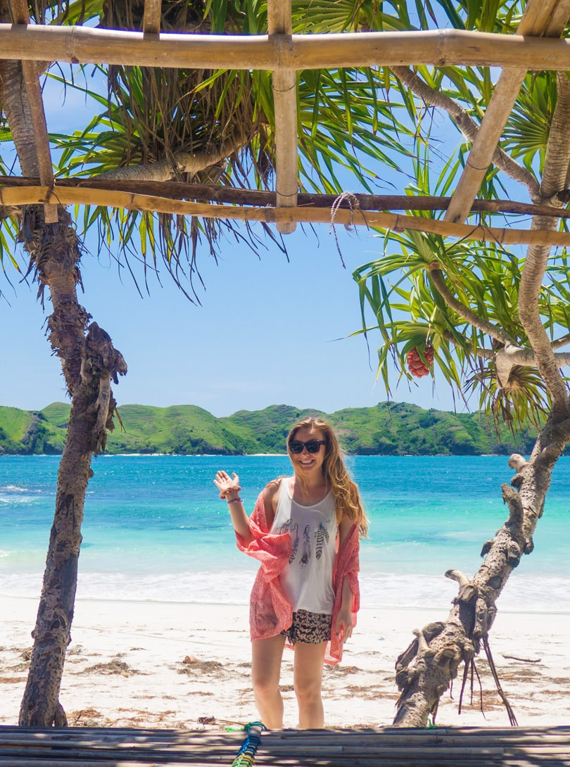 Girl at Tanjung Aan Beach Lombok Travel