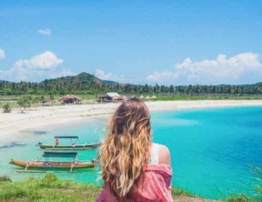 Girl enjoying the view at Tanjung Aan Beach, Lombok