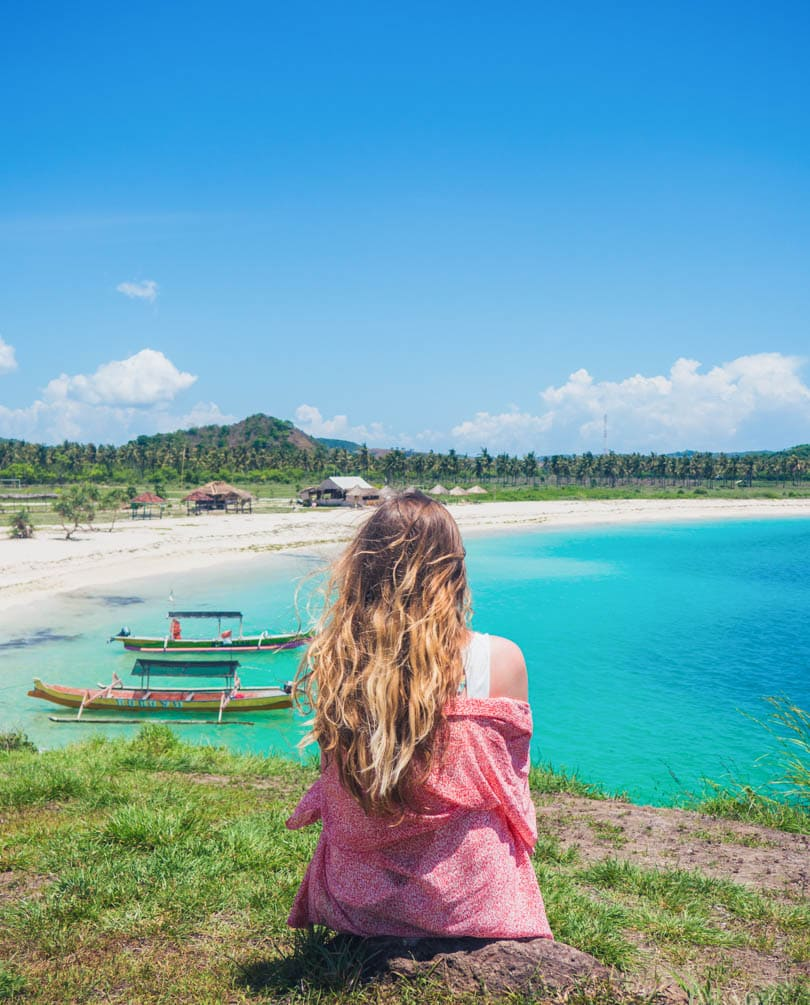 Girl enjoying the view at Tanjung Aan Beach, Lombok
