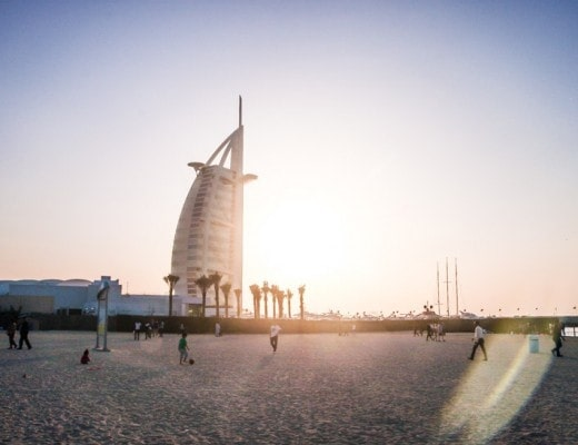 Burj Al Arab at sunset seen from Jumeirah Beach