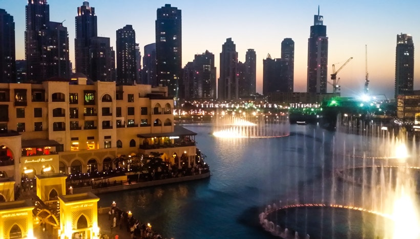 View of the Fountain Show Dubai Mall