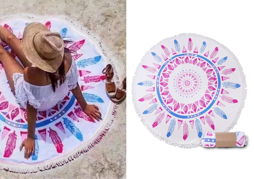 Gift ideas for travel girls - Mandala boho cotton beach towel
