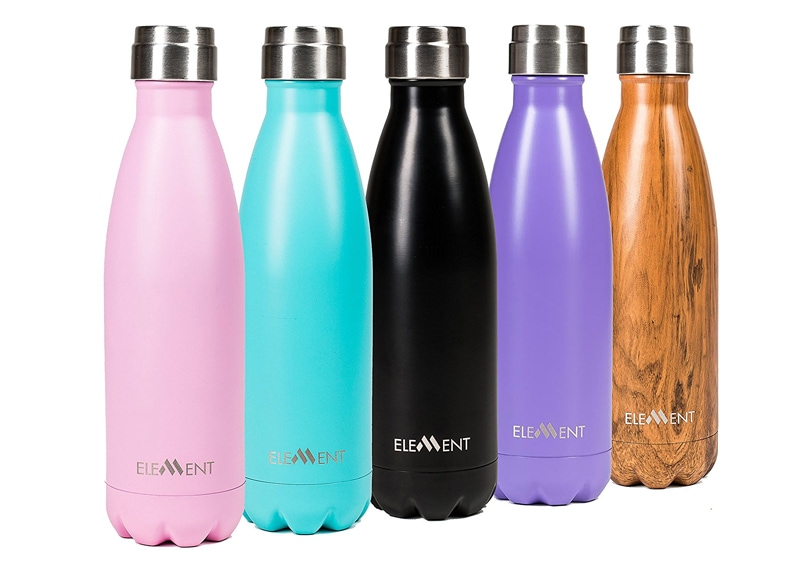 Gift ideal for travel girls - Stainless steel waterbottles pink, turquoise, purple, black & wood