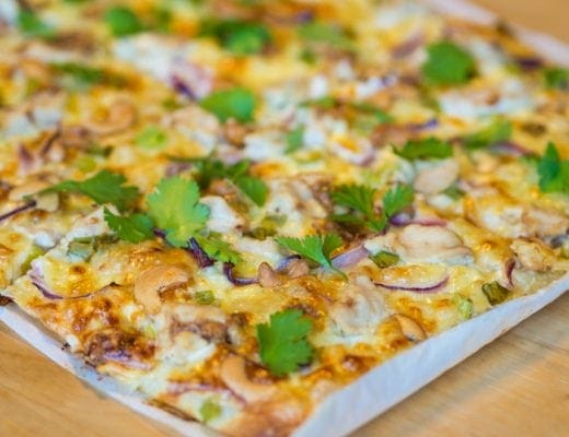 Delicious thai inspired chicken pizza recipe