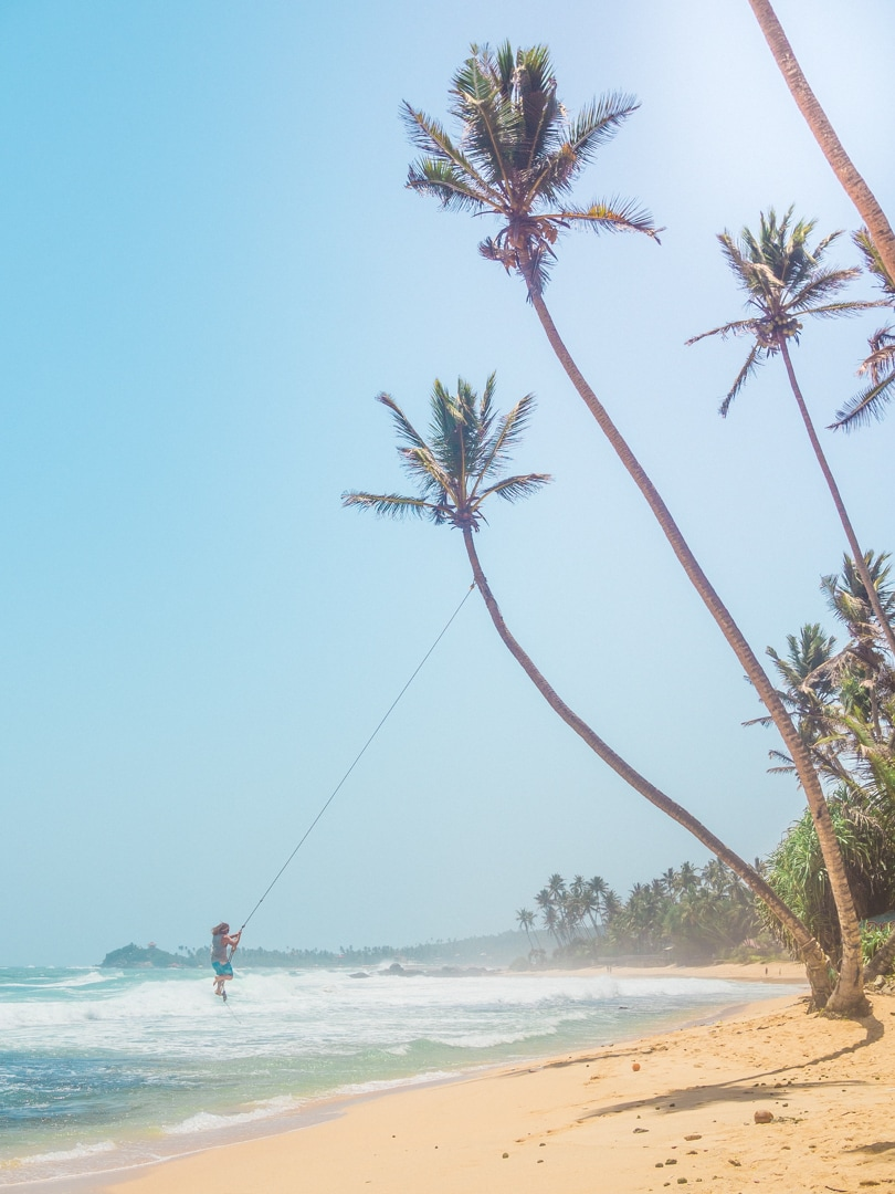 Dalawella beach right next to Unawatuna, Sri Lanka - Palm Tree Swing