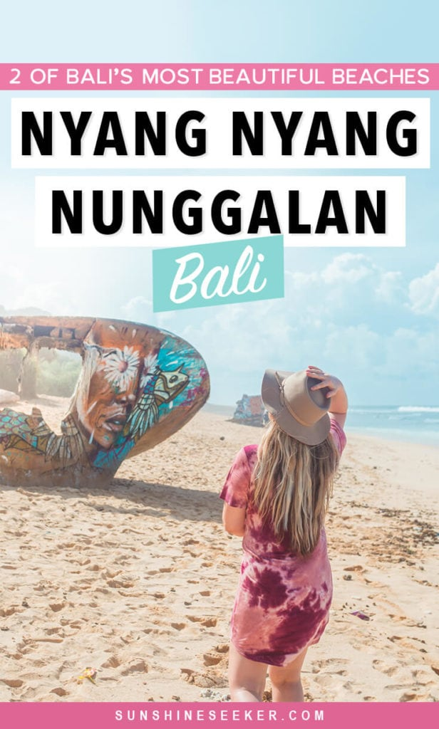 An insider's guide to visiting two of Bali's most beautiful beaches - Nyang Nyang and Nunggalan, famous for the shipwrecks turned art. How to get there (the right entrances to use) + what to expect #bali #indonesia #uluwatu #nyangnyang #balilife