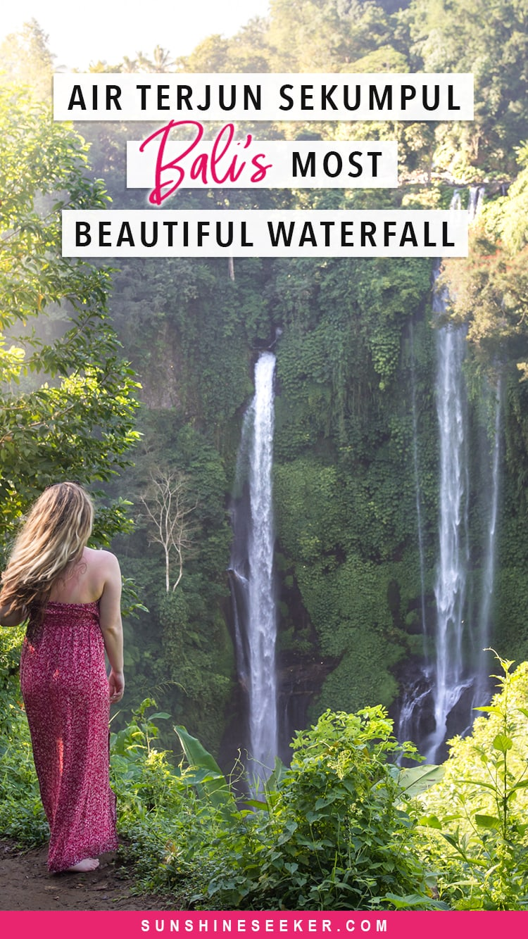 A guide to Sekumpul Waterfall - Bali's most beautiful waterfall. Click through to learn how to get to Sekumpul, when to go, what to expect and which scams to avoid. #Sekumpul #sekumpulwaterfall #Bali #baliguide #Baliwaterfall #Indonesia