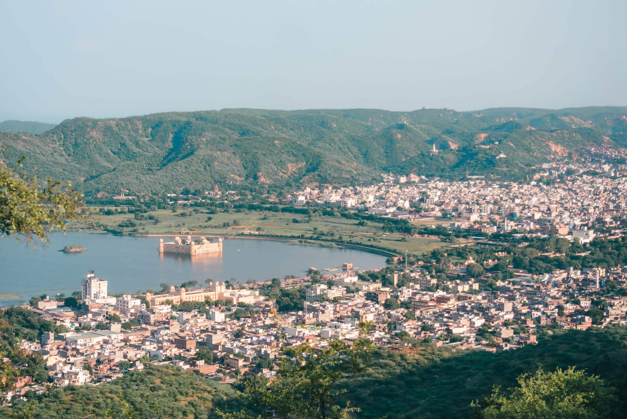 Jal Mahal seen from Nahargarh Fort - The best sunset view point in Jaipur, India