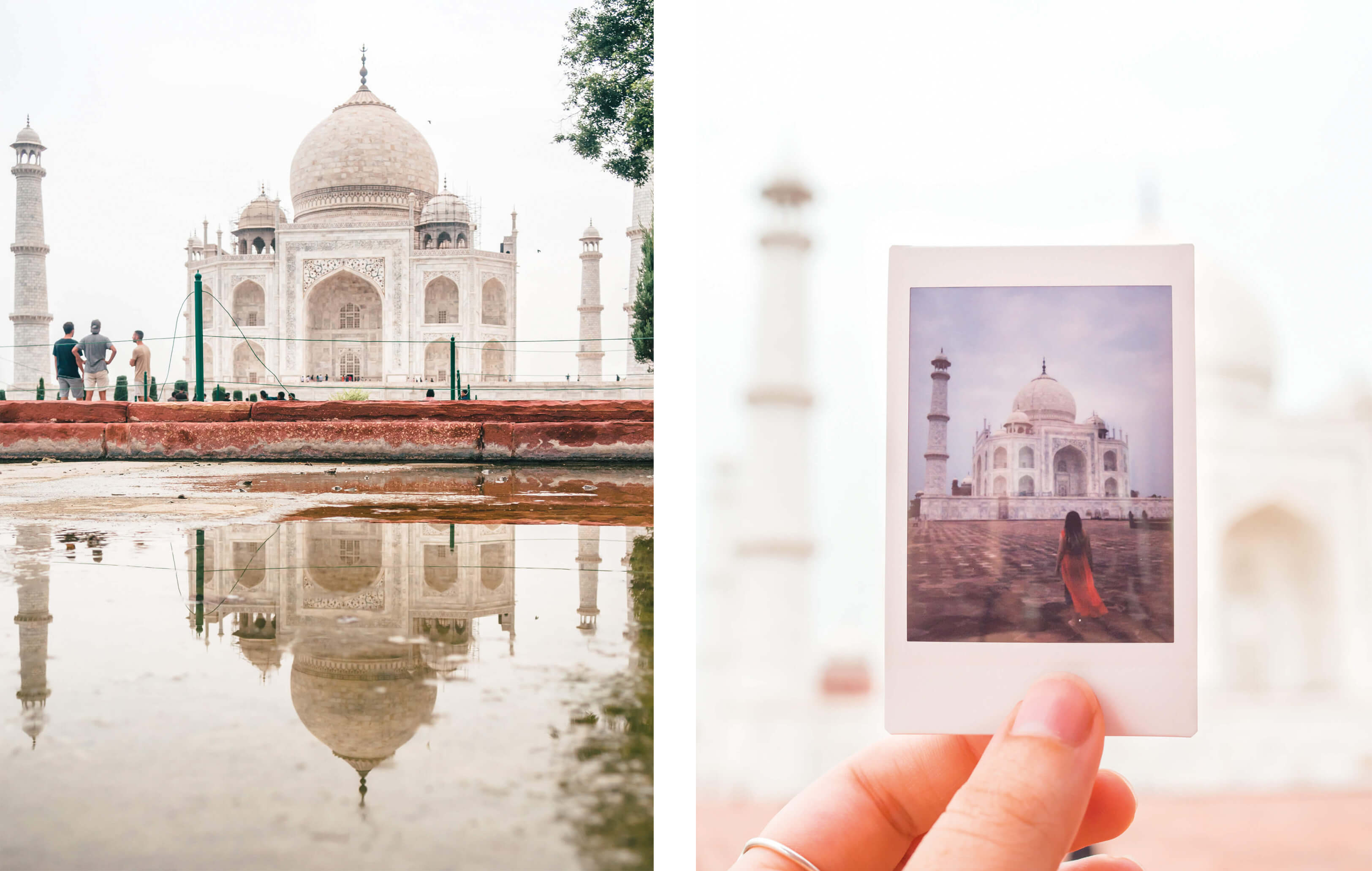 Taj Mahal photography tips - Reflection and Polaroids