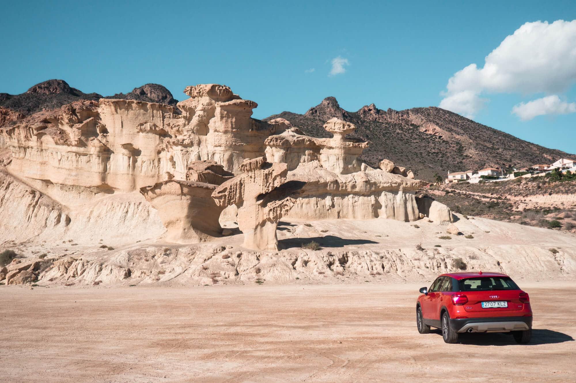 Las Gredas de Bolnuevo, also known as Ciudad Encantada - An otherworldly landscape of eroded sandstone formations in Bolnuevo, Murcia, Spain