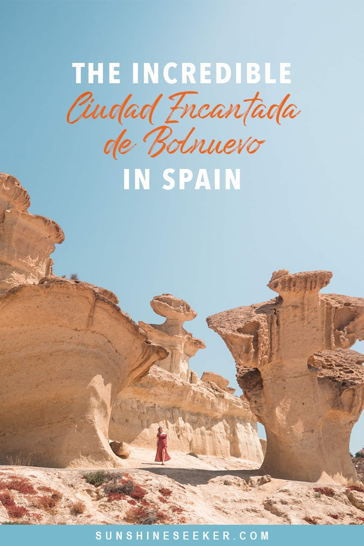 Ciudad Encantada de Bolnuevo in Mazarrón - One of Spain's most beautiful lesser-known natural attractions. This otherworldly landscape of heavily eroded sandstone formations is the perfect backdrop for your Instagram photos. A must while in Murcia and a place you should add to your bucket list now! #spain #murcia #bucketlist