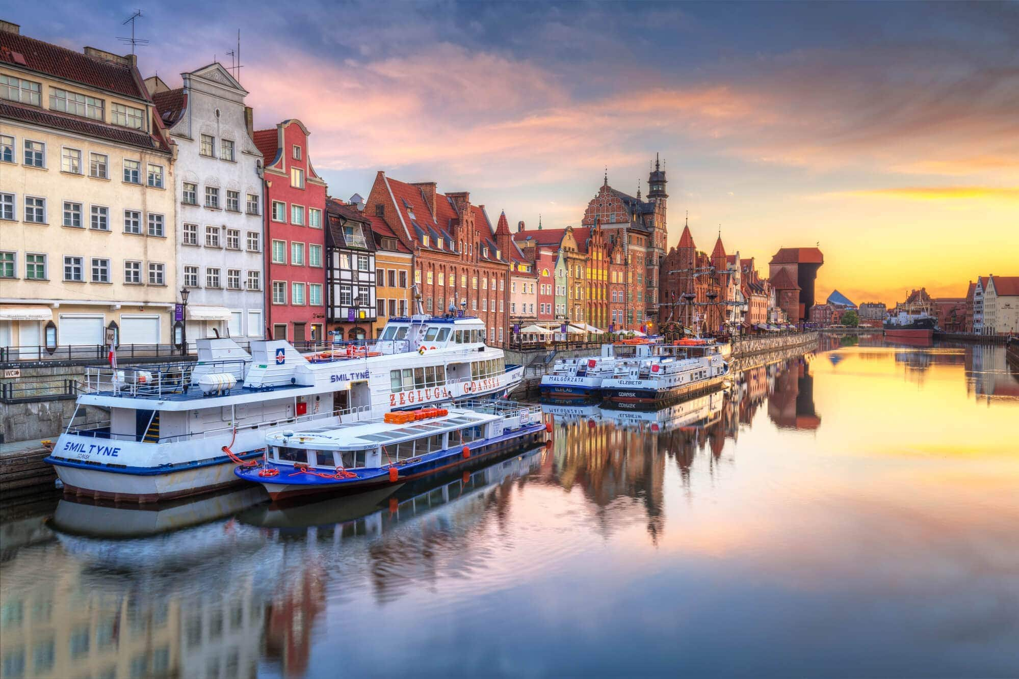 2 days in Gdansk, Poland - View Motlawa River and the beautiful Waterfront at sunset