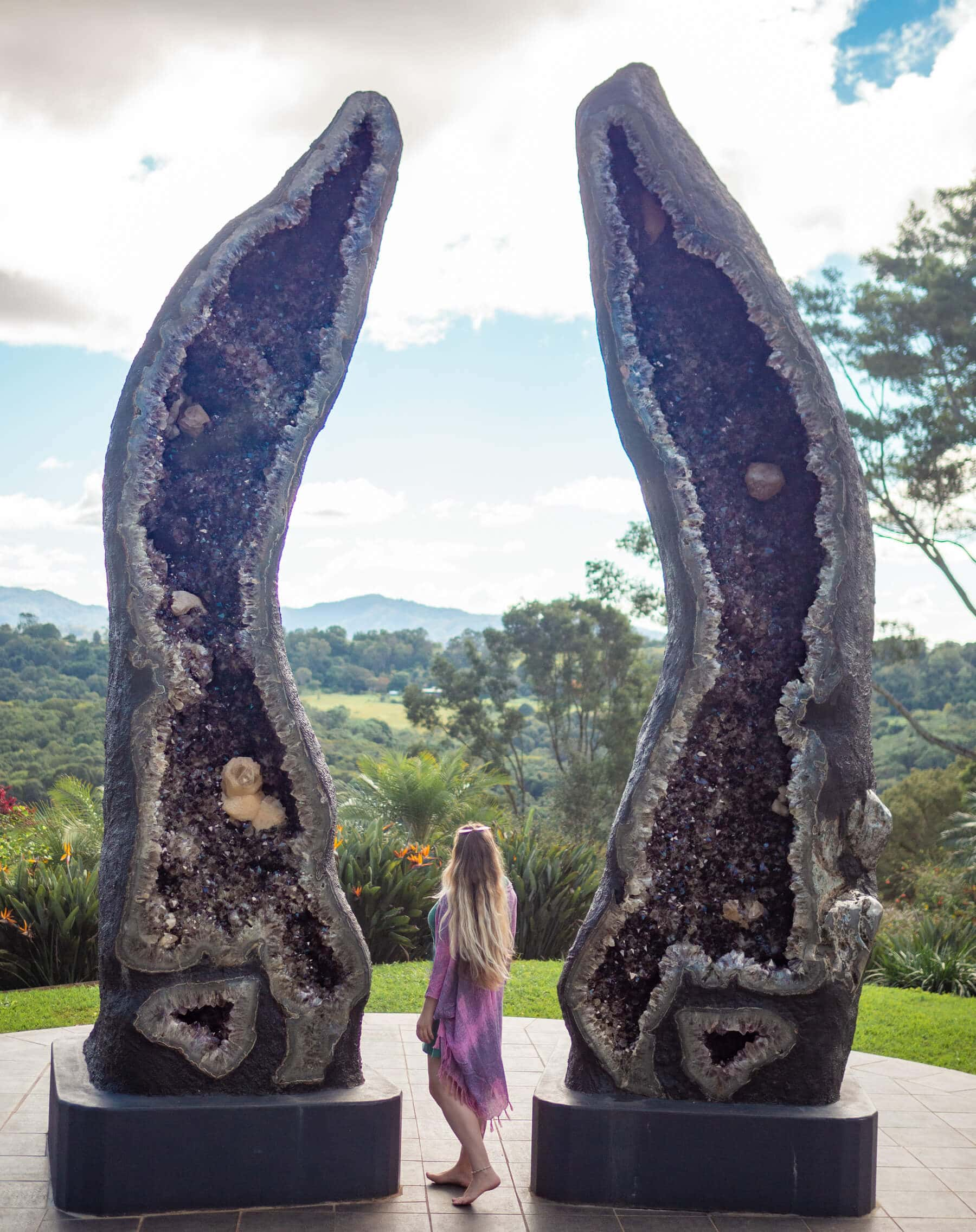 The world's tallest crystal geodes at the Crystal Castle outside Byron Bay - The Crystal Guardians
