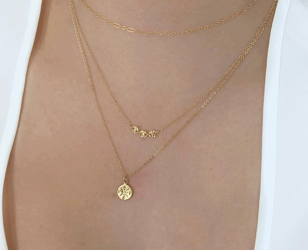 Beautiful gold filled compass necklace - Best travel gift ideas