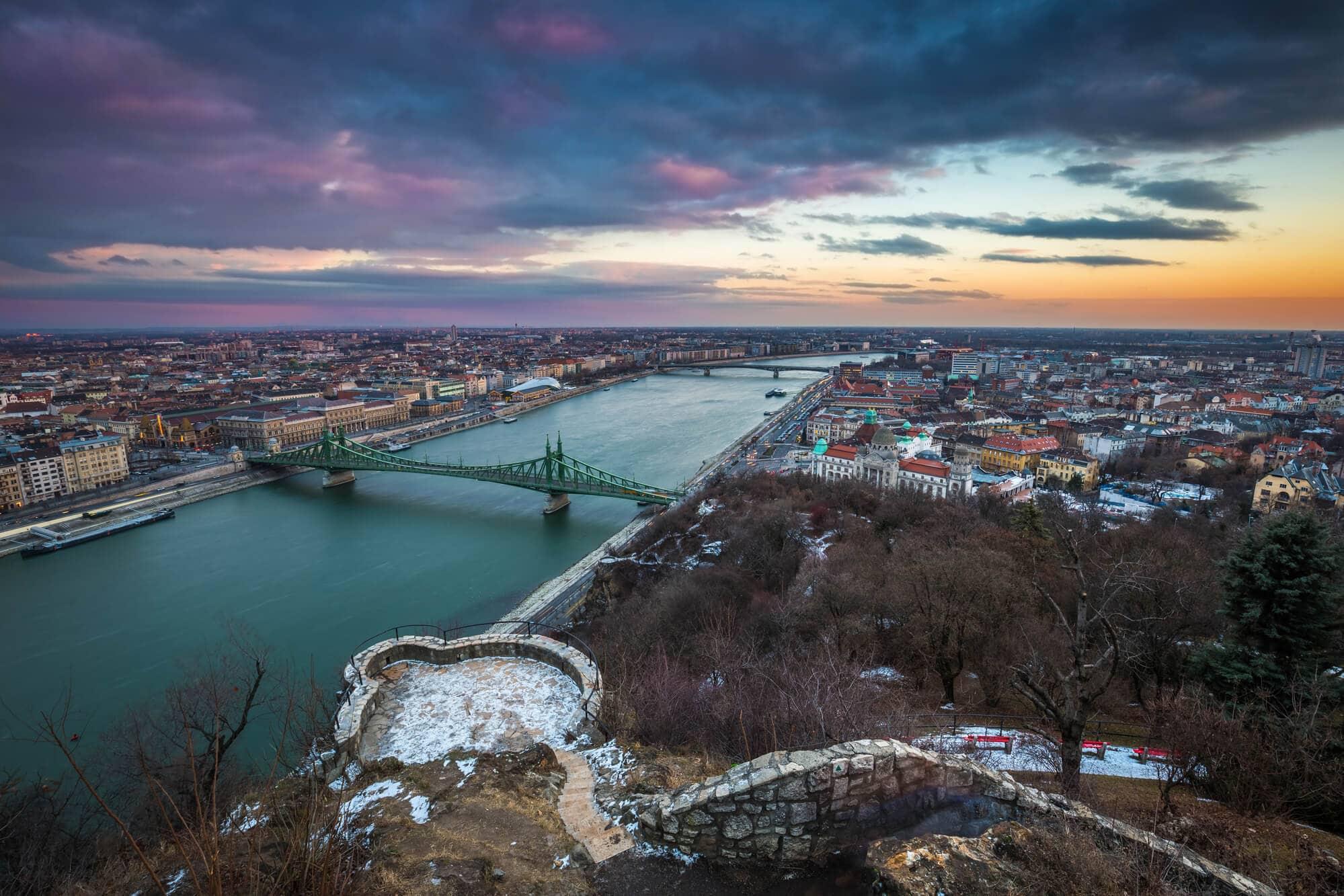 Budapest Instagram photo guide - Sunset view of Budapest seen from Gellért Hill Citadel