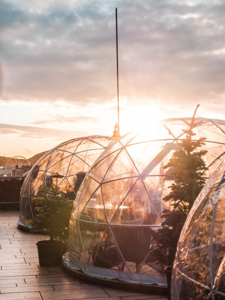 Budapest Instagram photo guide - Gorgeous sunset seen from the 360 rooftop igloo Bar