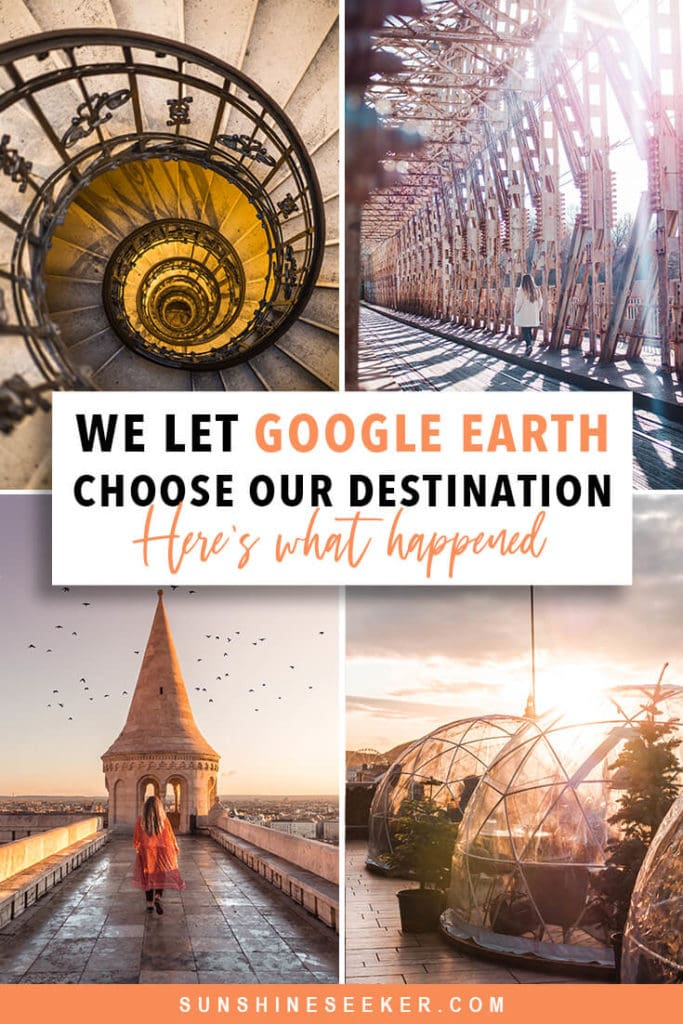 "Spontaneous travel ideas - We let Google Earth's ""I'm feeling lucky"" feature choose our travel destination. This is where we ended up #travelinspo #bucketlist #budapest #spontaneous #travel"