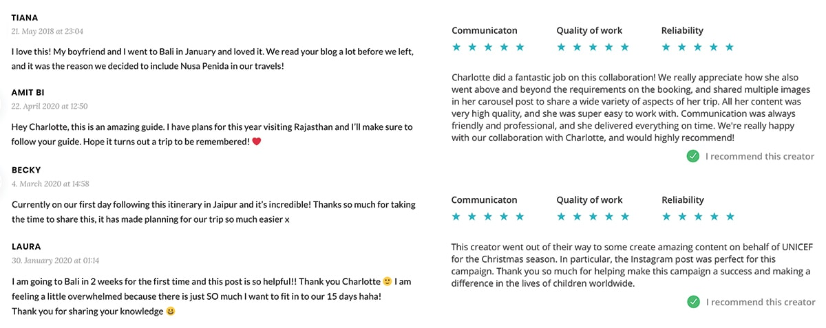 Sunshine Seeker Travel Blog testimonials from readers and clients