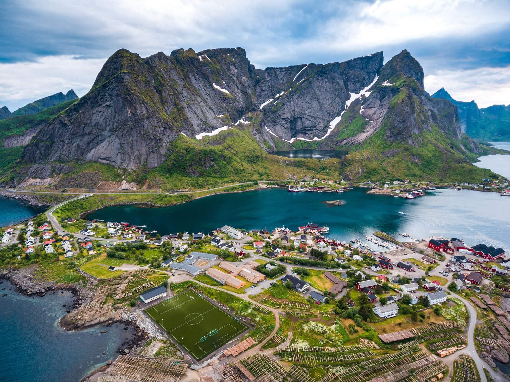 Top things to do in Norway - Reinebringen and soccer field in Reine, Lofoten