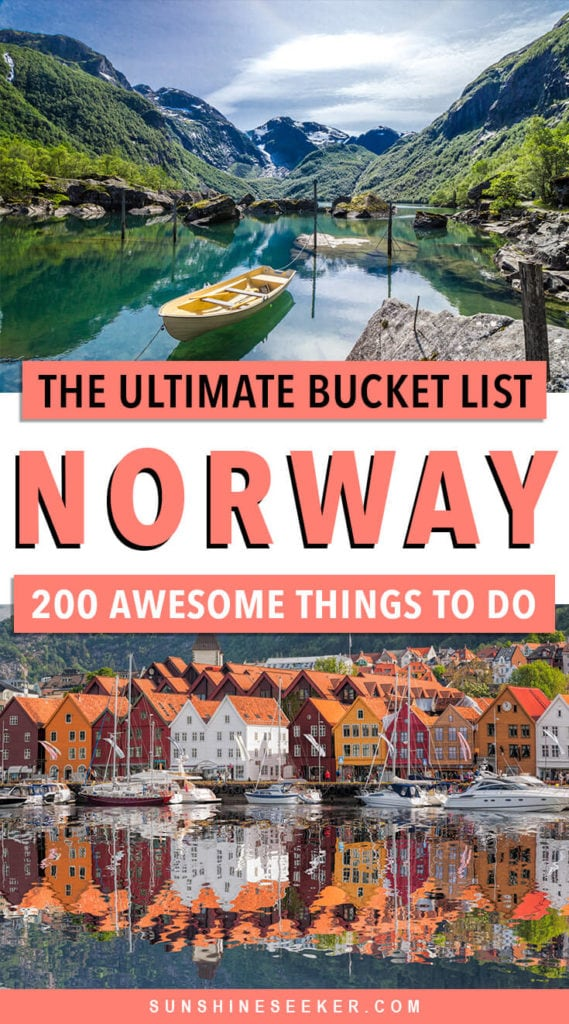 Click through for 200 of the best places to see and things to do in beautiful Norway! From Northern Europe's tallest mountain and the northern lights to majestic waterfalls and Viking settlements. Norway has something to do for everyone. This is the ultimate Norway bucket list #norway #northernlights #lofoten #oslo #trondheim #bucketlist #travelinspo #svalbard