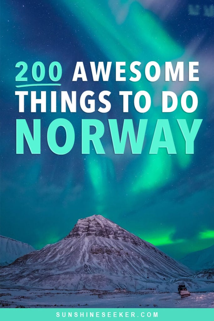 Click through for 200 of the top places to see and things to do in beautiful Norway! From Northern Europe's tallest mountain and the northern lights to majestic waterfalls and Viking settlements. Norway has something to do for everyone. This is the ultimate Norway bucket list #norway #northernlights #lofoten #oslo #trondheim #bucketlist #travelinspo #svalbard